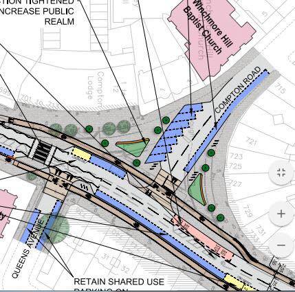 Cycle Enfield plans for Winchmore Hill high street with larger public realm. Parking spaces marked in blue