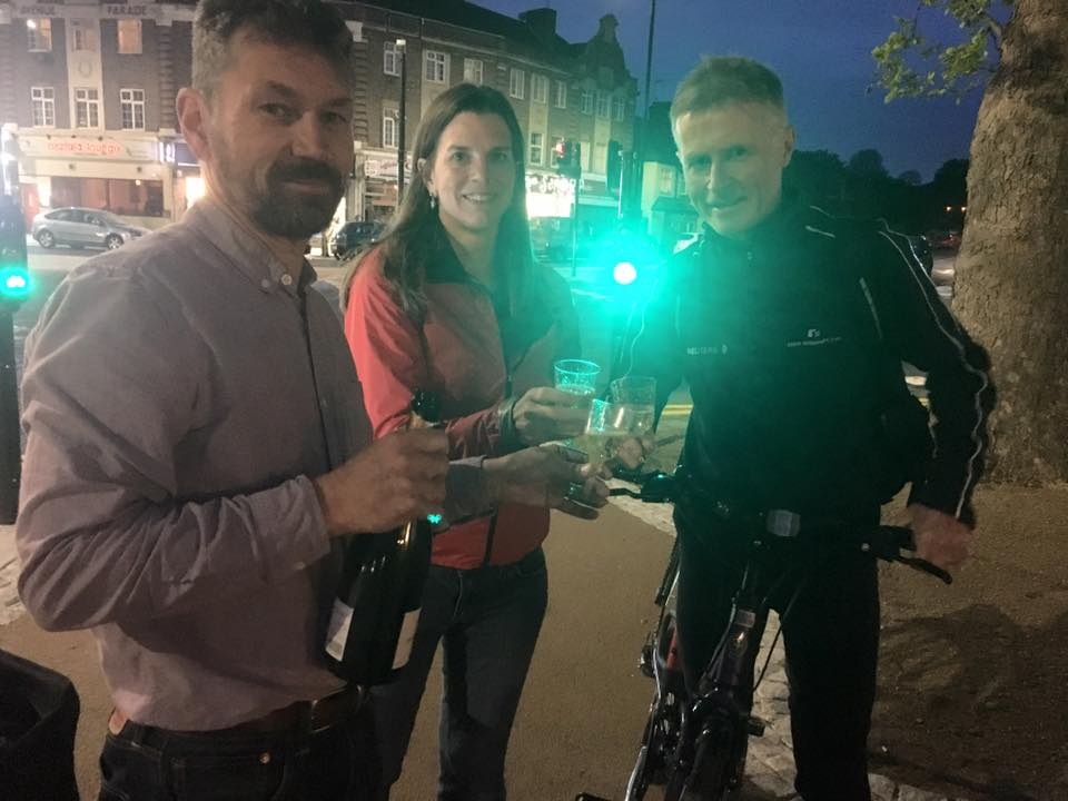 Better Streets / ECC members Hal, Clare and David celebrate at the new junction