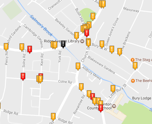 A cluster of collisions around the Ridge Ave Library junction. Red = serious, black = fatal. www.crashmap.co.uk