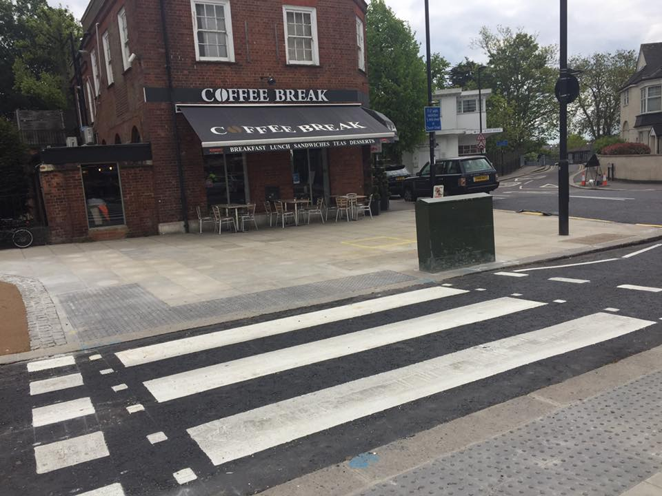 New, much wider pavement outside a Winchmore Hill cafe